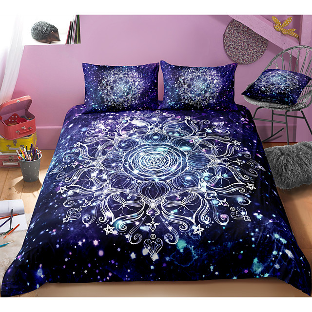 Mandala Pattern 3-Piece Duvet Cover Set Hotel Bedding Sets Comforter Cover with Soft Lightweight Microfiber, Include 1 Duvet Cover, 2 Pillowcases for Double/Queen/King(1 Pillowcase for Twin/Single)
