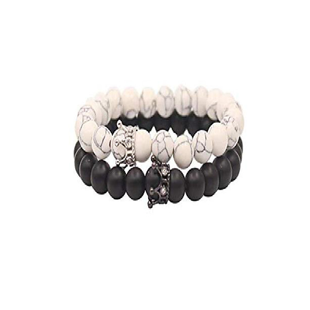 distance couple friendship, stretch adjustable, natural black matte agate onyx, lava stone and white howlite bracelets with jewelry bag, meaning card, elastic crown