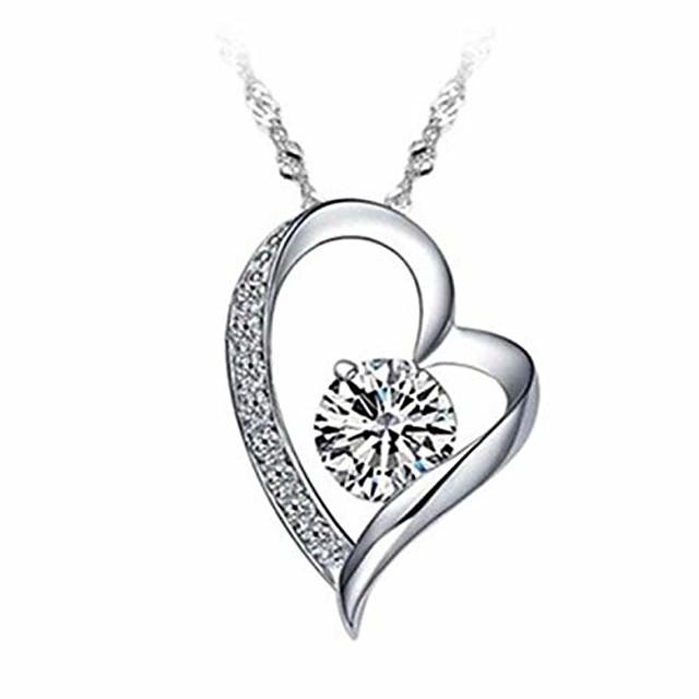 fashion peach heart necklace women's love zircon pendant chain festival gift for women girls (silver)