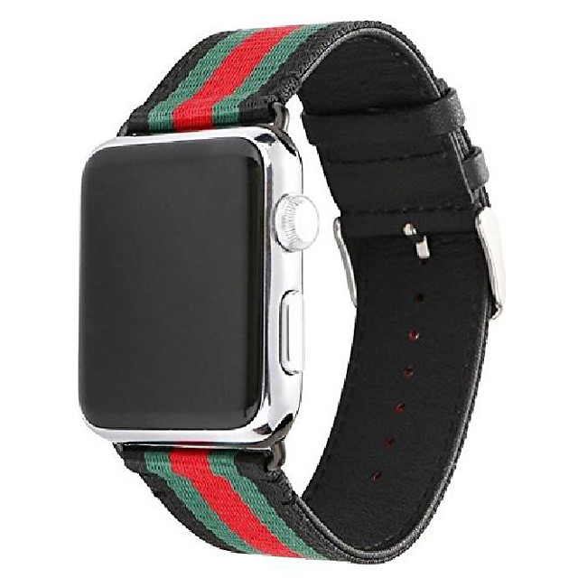 watch band leather, nylon compatible with apple iwatch with metal adapter & buckle for series 1/2/3/4 (black, 42mm)