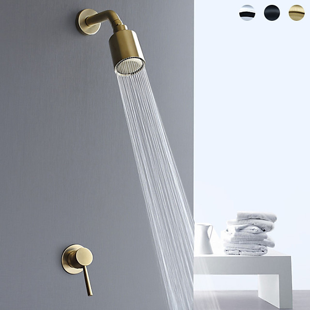 Shower Faucet Set - Handshower Included Contemporary Painted Finishes Mount Inside Ceramic Valve Bath Shower Mixer Taps