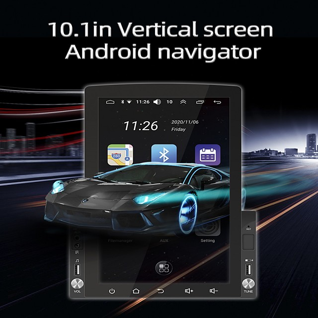 D110 Android 10 RAM 1GB ROM 16GB 10.1 Inch Universal Car GPS Navigation Radio HD Rotatable Screen IPS Support Carplay DVR MP5 Multimedia Player with GPS WIFI Mirror-Link