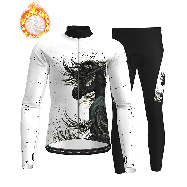21Grams Men's Long Sleeve Cycling Jersey with Tights Winter Fleece Polyester Black / White Animal Bike Clothing Suit Fleece Lining Breathable 3D Pad Warm Quick Dry Sports Graphic Mountain Bike MTB