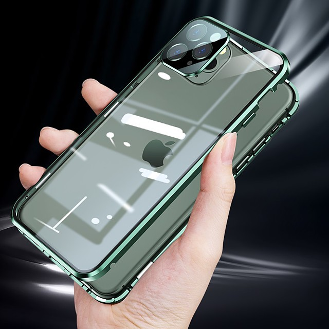 magnetic case for apple iphone 12 / iphone 11 / iphone 12 pro max case adsorption double sided tempered glass protective case with camera lens protector for iphone 11promax / 11 / 11pro