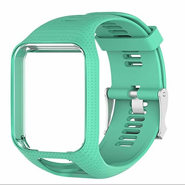 tomtom watch strap, soft silicone replacement strap sport bracelet wristband for tomtom runner 2/runner 3/spark 3/golfer 2/adventurer (teal)