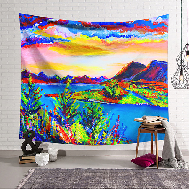 Oil Painting Style Wall Tapestry Art Decor Blanket Curtain Hanging Home Bedroom Living Room Decoration Polyester Landscape Mountain Lake River Tree