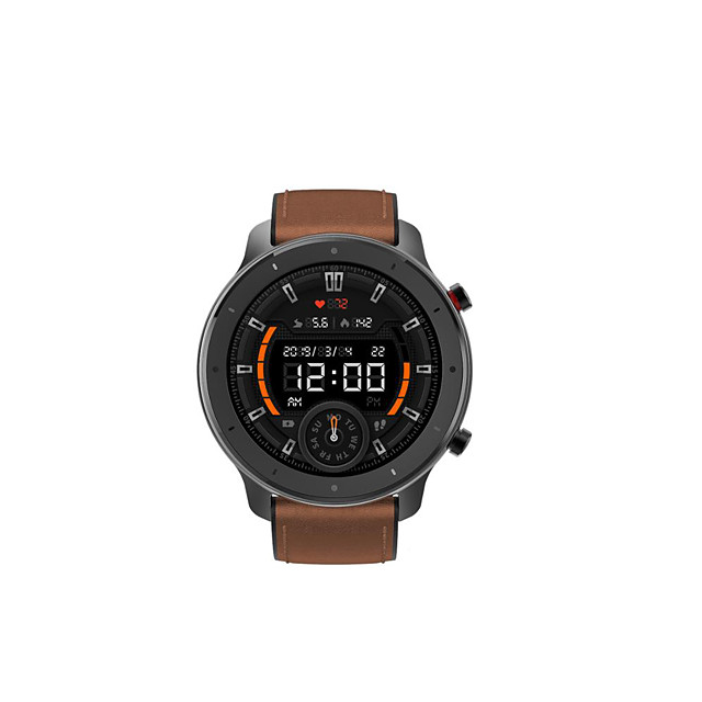 Amazfit Gtr 47 Sports Watch With Silicone And Leather Strap Water Resistant Up To 5atm With Gps Music And 24 Days Of Battery