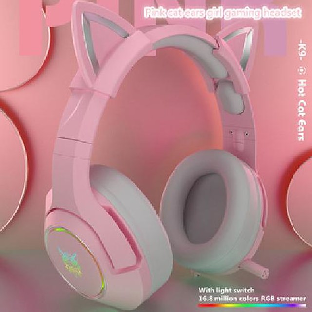 girl gaming headset noise-reduction k9 pink enc cute hifi cat wired with mic ear rgb