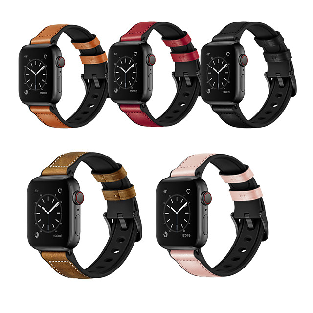 Watch Band for Apple Watch Series 6 / SE / 5/4 44mm / Apple Watch Series 6 / SE / 5/4 40mm / Apple Watch Series 3/2/1 38mm Apple Leather Loop Silicone / Genuine Leather Wrist Strap