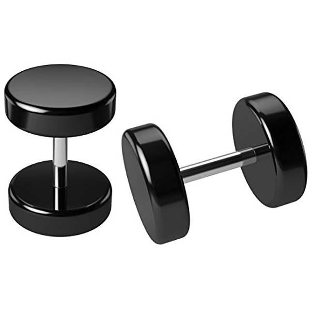 2pc 0g black fake cheater illusion ear plug earrings men 8mm gauges piercing 16g gauge