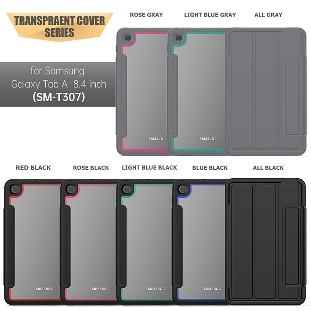Acrylic Case For Samsung Galaxy Tab A 8.4 (2020) / Samsung Tab A 8.0(2019)T290/295 Shockproof Back Cover Solid Colored TPU / Acrylic