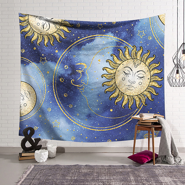 Tarot Divination Wall Tapestry Art Decor Blanket Curtain Hanging Home Bedroom Living Room Decoration Bohemian Mysterious Starry Sky Sun Moon