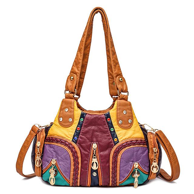 Women's Bags PU Leather Tote Top Handle Bag Hobo Bag Beading Zipper Patchwork Floral Print Daily Date 2021 Handbags Baguette Bag Black Yellow Rainbow