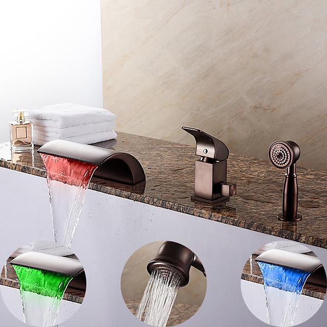 Slavina za kadu - Suvremena Lakirana bronca Rimska kupelj Keramičke ventila Bath Shower Mixer Taps / Brass / Jedan obrađuju tri rupe