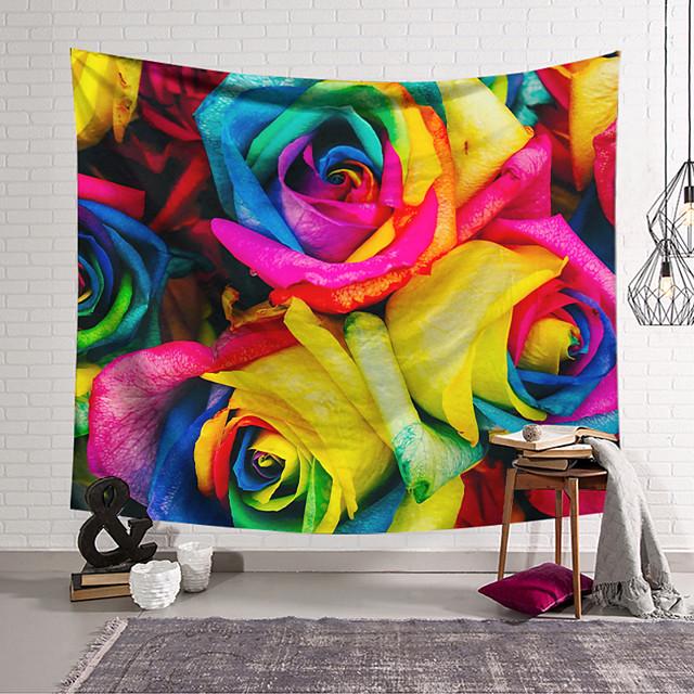 Wall Tapestry Art Decor Blanket Curtain Hanging Home Bedroom Living Room Decoration Polyester Fiber Color Rose Flower