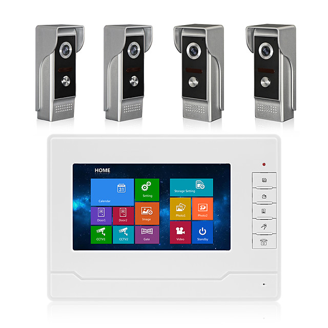 7inch Full Touch Screen Door Phone Four To One Video Intercom for Villa Support OSD Language Recording Function Waterproof Camera IR night Vision Video Doorbell System With 16G TF card