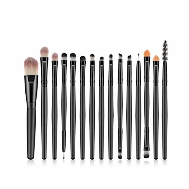 15 pcs makeup brush set, powder foundation eyeshadow eyeliner lip cosmetic brushes make-up toiletry kit ideal for pro & daily use (15pcs black)