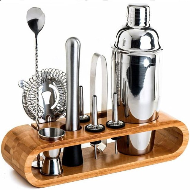 Insulated Cocktail Shaker Mixer Bartender Kit 10pcs Cocktail Shaker Mixer Stainless Steel 550ml Bar Tool Set with Stylish Bamboo Stand Perfect Home Bartending Kit and Martini Cocktail Shaker Set