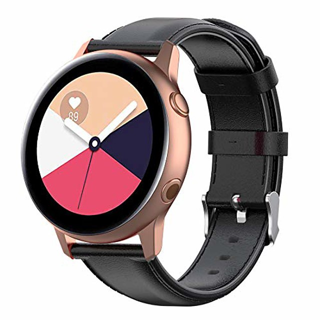 replacement bands for samsung gear sport /s2 classic/samsung galaxy watch 42mm/galaxy watch active (40mm), 20mm width soft genuine leather strap(leather black)
