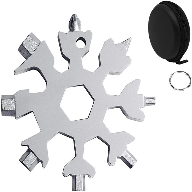 18-in-1 Stainless Multi-Tool Snowflake Multi-Tool Card Portable Keychain Screwdriver Bottle Opener Snowboarding Multi-Tool Come with Black Gift Box