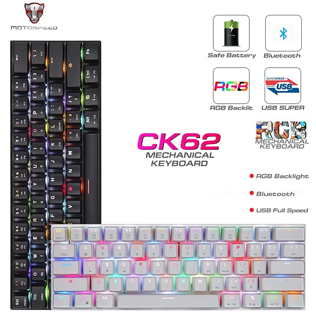 MOTOSPEED CK62 USB Wired Bluetooth Wireless Dual Mode Mechanical RGB Backlit Gaming Keyboard 61 Keys Portable Mini Keyboard