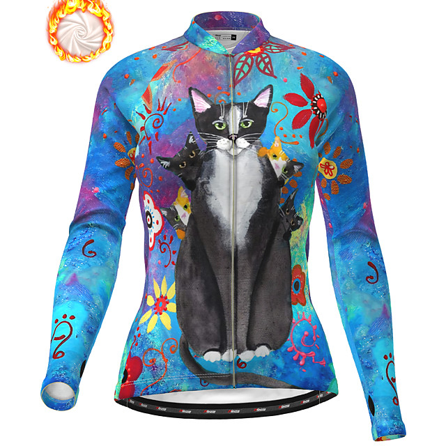 21Grams Women's Long Sleeve Cycling Jacket Winter Fleece Polyester Blue Cat Animal Bike Jacket Top Mountain Bike MTB Road Bike Cycling Thermal Warm Fleece Lining Breathable Sports Clothing Apparel