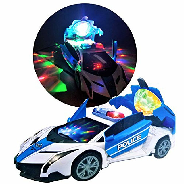 police car toy stunt car- 360 spinning, police cars vehicle, realistic sound effects,projection led light up disco battery operated bump-n-go no remote control needed, police toy car for all ages