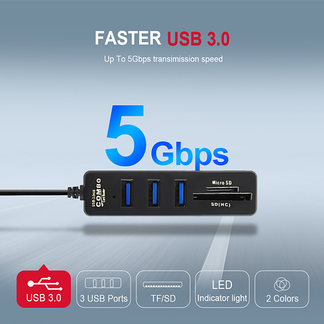 USB Hub 3.0 Multi USB 3.0 Hub USB High Speed Separator 3.6 port 2.0 HAB TF SD Card Reader All In One For Computer Substances Of Computer