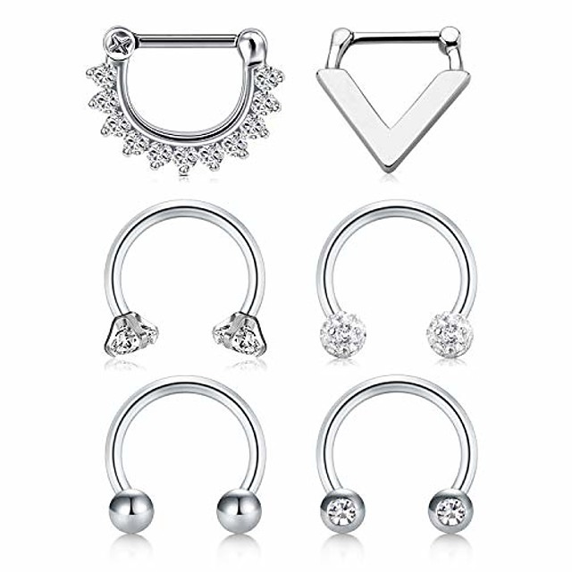 septum clicker rings 16g surgical steel nose hoop rings body piercing jewelry with clear cz women men horseshoe barbell daith helix tragus lip cartilage earrings …