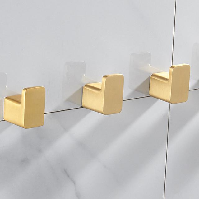 Robe Hook New Design Aluminum for Kitchen and Bathroom Golden 3 or 5 pcs