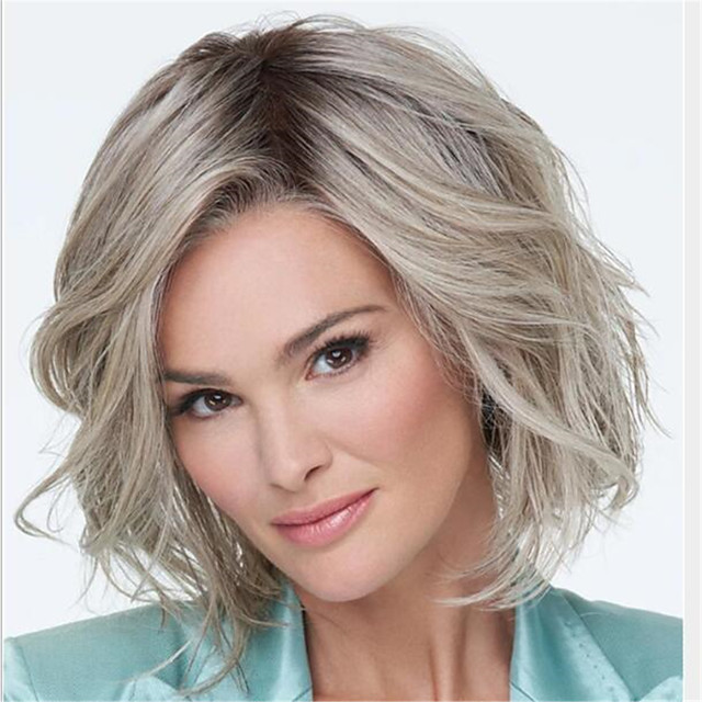 Synthetic Wig Curly Middle Part Wig Medium Length Light Brown Synthetic Hair Women's Color Gradient Fluffy Light Brown