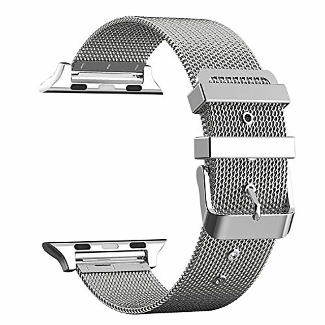 compatible with apple watch strap 38mm 40mm metal stainless steel mesh loop adjustable replacement for iwatch series 5 4 3 2,silver,42mm/44mm