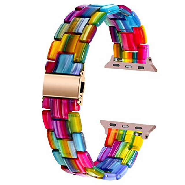 smart watch bracelet compatible with apple watch band 42mm 44mm 40mm 38mm sport replacement band colorful resin quick release strap compatible for apple watch series 6 se 5 4 3 2 1 rainbow