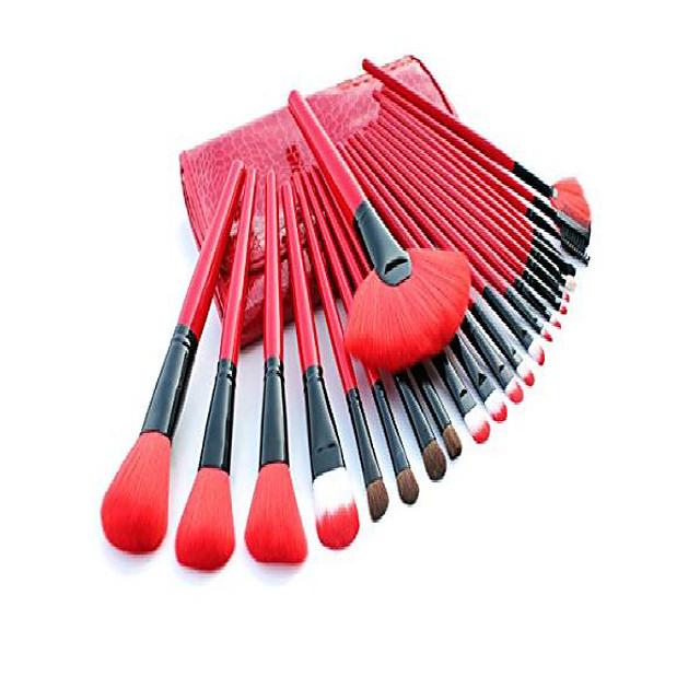 make up brushes, e-beshiny 24 pcs pro cosmetic makeup brush set powder tool kit set with case- fast shipping (red)