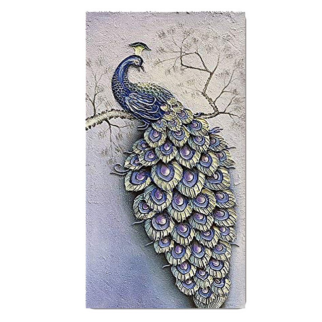 100% Hand-Painted Contemporary Art Oil Painting On Canvas Modern Paintings Home Interior Decor Abstract 3D Peacock Painting Large Canvas Art(Rolled Canvas without Frame)