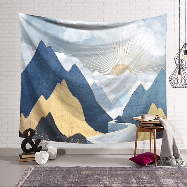 Wall Tapestry Art Decor Blanket Curtain Hanging Home Bedroom Living Room Decoration Polyester Abstract Mountains Sunrise Sunset Oil Painting Pattern
