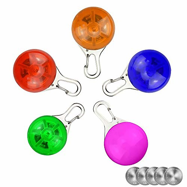 pet night safety led flashlight collar dog guide lights glowing pendant necklace weather resistant light up dog collar with 3 flashing modes, with 5 extra replacement batteries (5 pcs)