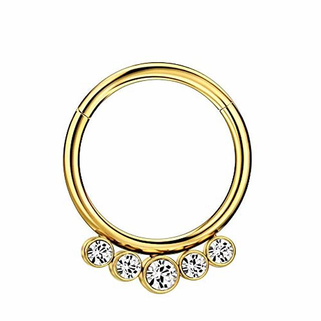 316l surgical steel nose rings 16 gauge gold nose ring hoop earrings for women 5 crystals septum jewelry 10mm septum ring seamless septum clicker 10mm cartilage earring hoop