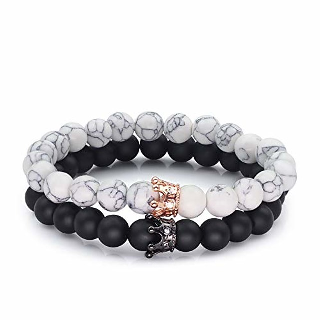 his/hers stretch couple black matte agate & white howlite cz rose gold crown queen 8mm beads bracelet