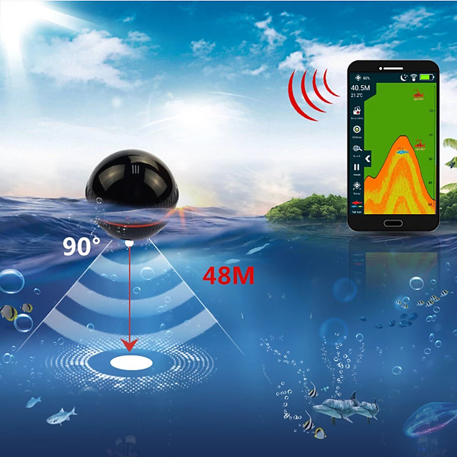 Xa02 Echo Sounder Portable Wireless Fish Finder Sonar 48m/160ft Detector Fishing Alarm Ios&android Russia Warehouse