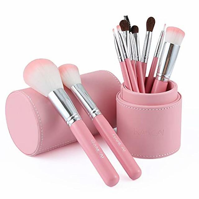 makeup brushes 10 pcs set premium synthetic foundation powder brushes concealers eye shadows brushes kit - cylinder set brush - makeup brush set cylinder set brush full set of beauty tools