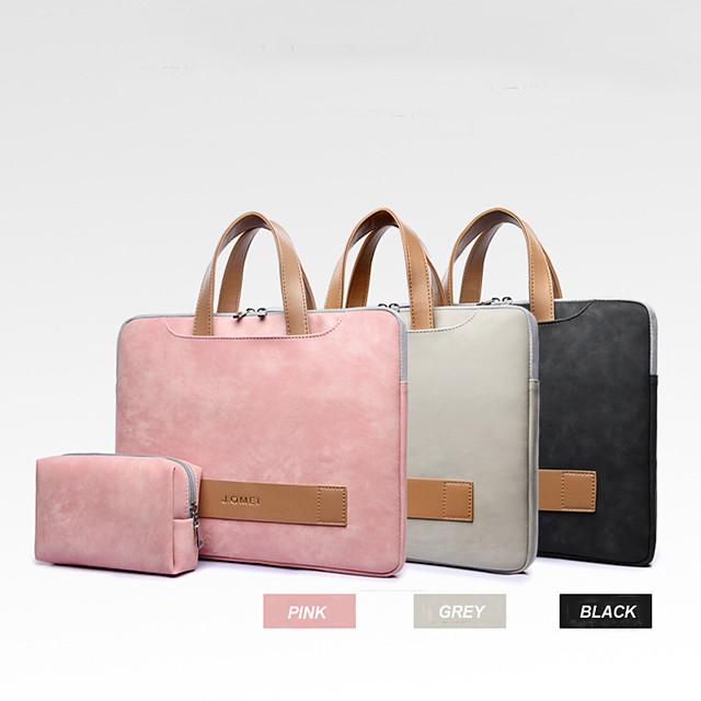 13.3 14 15.6 Pu Leather Waterproof Laptop Sleeve For Women Notebook Bag Soft Shockproof Handbag Include Power Bag
