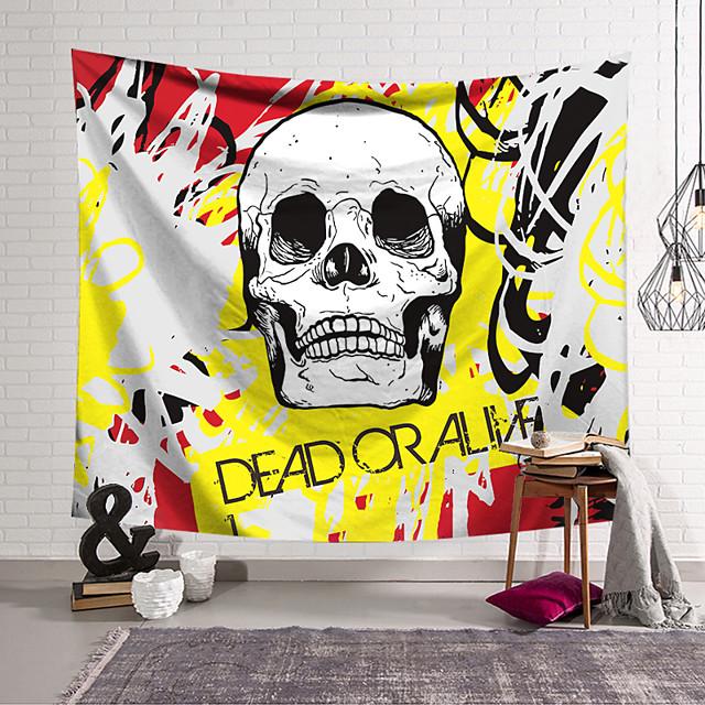 Wall Tapestry Art Decor Blanket Curtain Hanging Home Bedroom Living Room Decoration Polyester Fiber Novelty Still Life Skull Skull Black And White Yellow Red