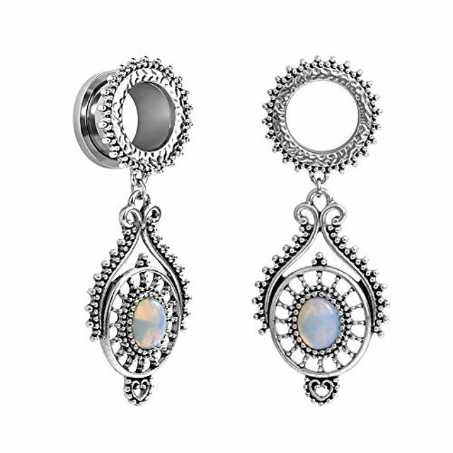 stainless steel teardrop opal wedding earrings large dangle bridal plug ear gauges stretching tapers screw fit tunnels gauge 1/2 inch(12mm)