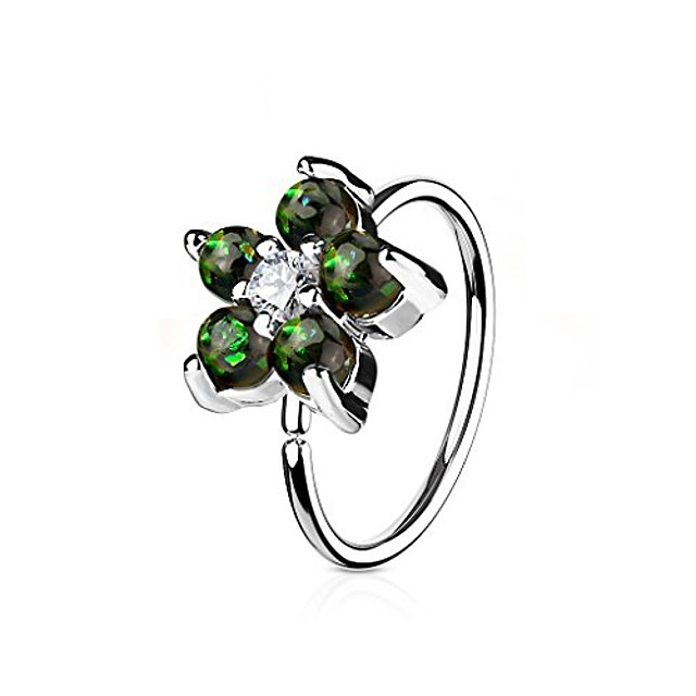 opal glitter set flower petals cz center 316l surgical steel gold ip plated wildklass hoop ring for nose & ear cartilage (dark green)