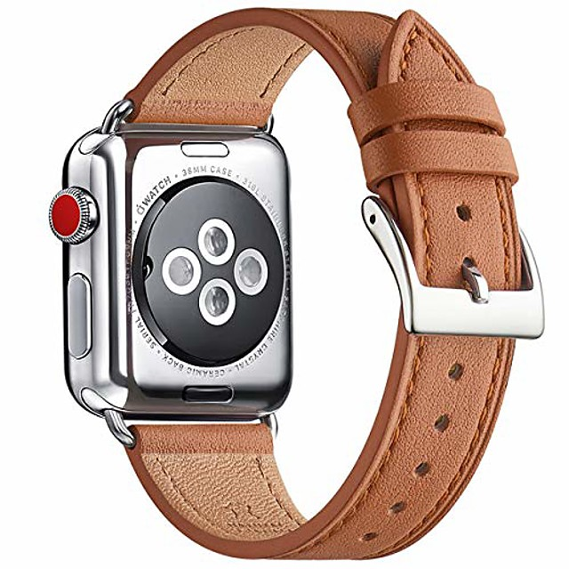 strap compatible for watch 38mm 40mm 42mm 44mm strap,top grain leather band replacement strap with stainless steel clasp for watch series 5/4/3/2/1,(38mm 40mm,white band+silver square buckle)