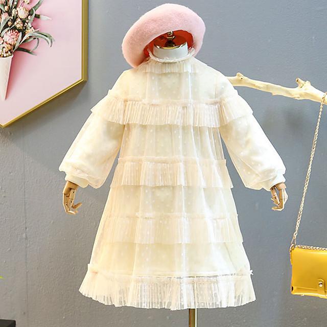 Kids Little Girls' Dress Solid Colored Ruffle Lace Beige Knee-length Long Sleeve Cute Sweet Dresses
