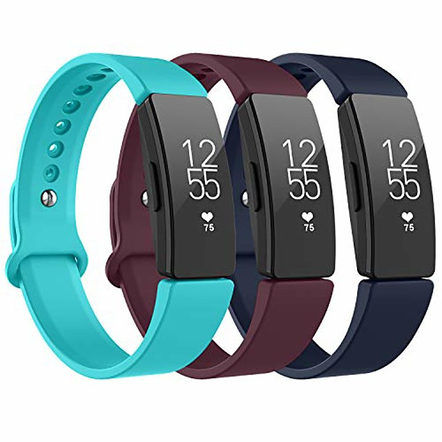 for fitbit inspire hr strap & fitbit inspire strap, sport silicone replacement bands compatible with fitbit inspire/inspire hr/ace 2 (wine red+navy blue+teal) s