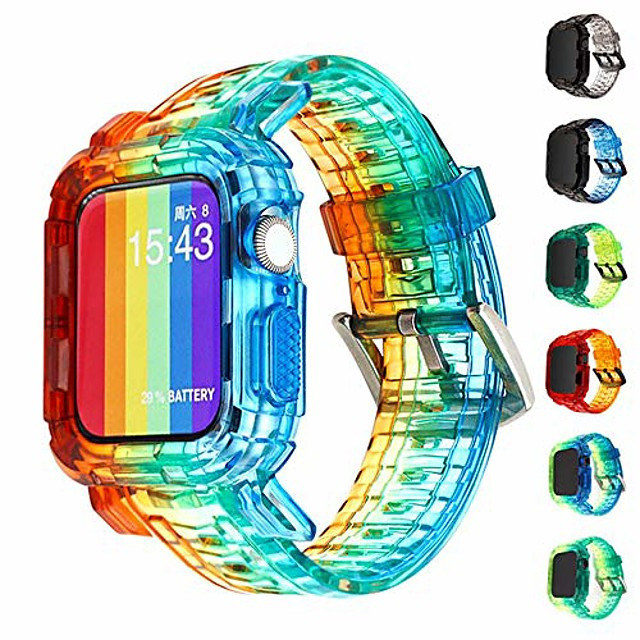 compatible for apple watch bands case 44mm/42mm/40mm/38mm, crystal clear integrated bumper watch strap iwatch series 6 /se/5/4 (gradient rainbow, 38mm/40mm)