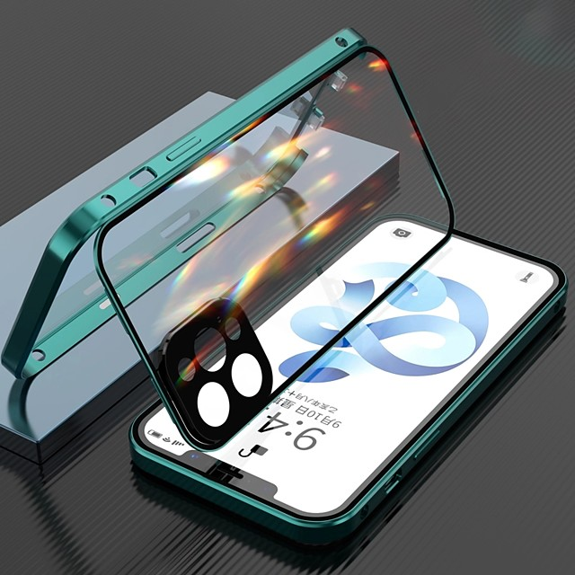 Magnetic Case For Apple iPhone 12/iPhone 11/iPhone 12 Pro Max Clear Full Body Protection Metal Adsorption Double Sided Tempered Glass Case with Camera Protection Lens For iPhone XS Max XR X SE 2020